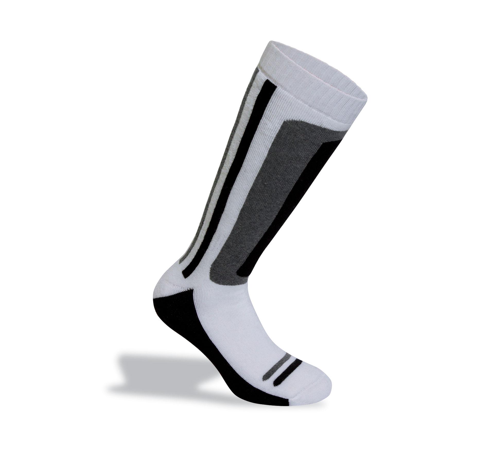 produzione calze da sci bianche
